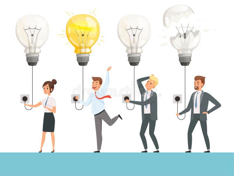 想法电灯泡概念 交易起步图片聪明的职业球队光灯传染媒介例证 向量例证