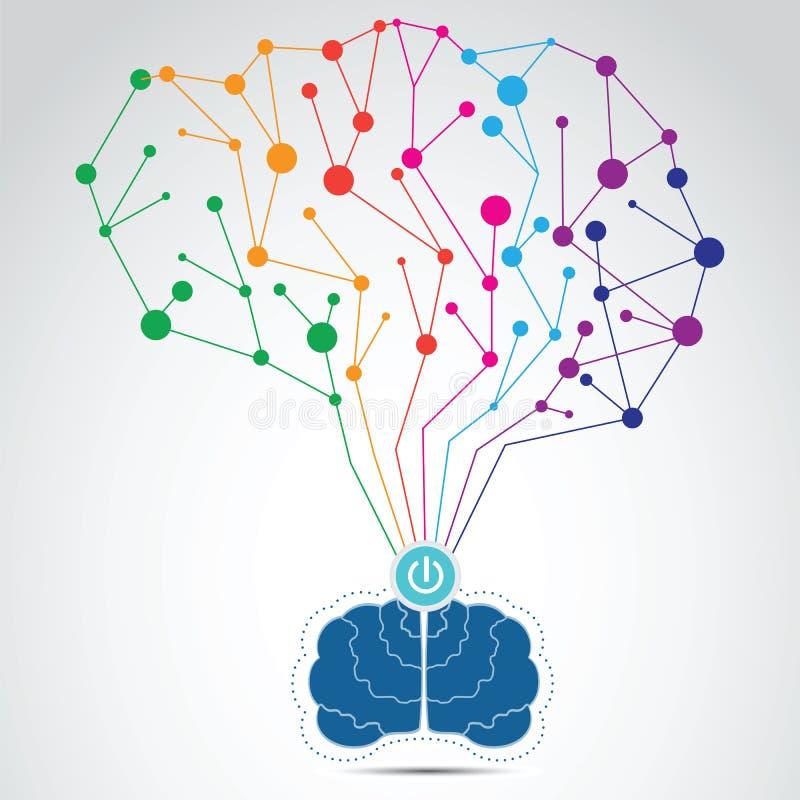 想法的处理概念,激发灵感,好想法,脑子connec 库存例证