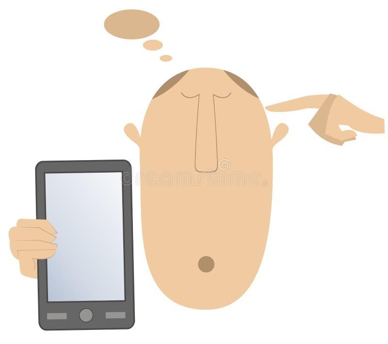 想法的头、手和巧妙的电话导航例证 向量例证