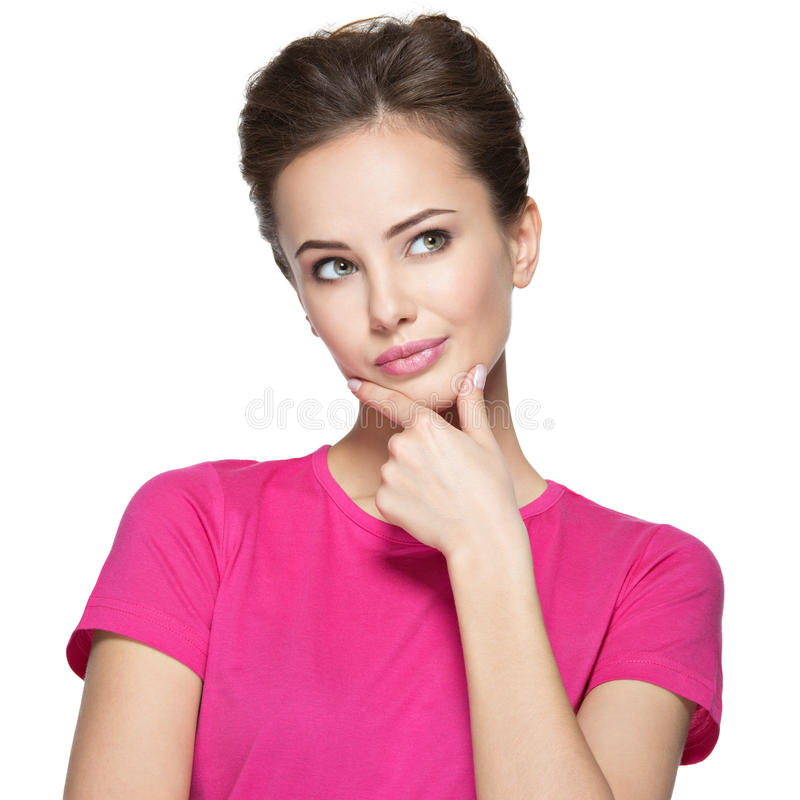 年轻想法的妇女的画象有某一问题的 库存照片