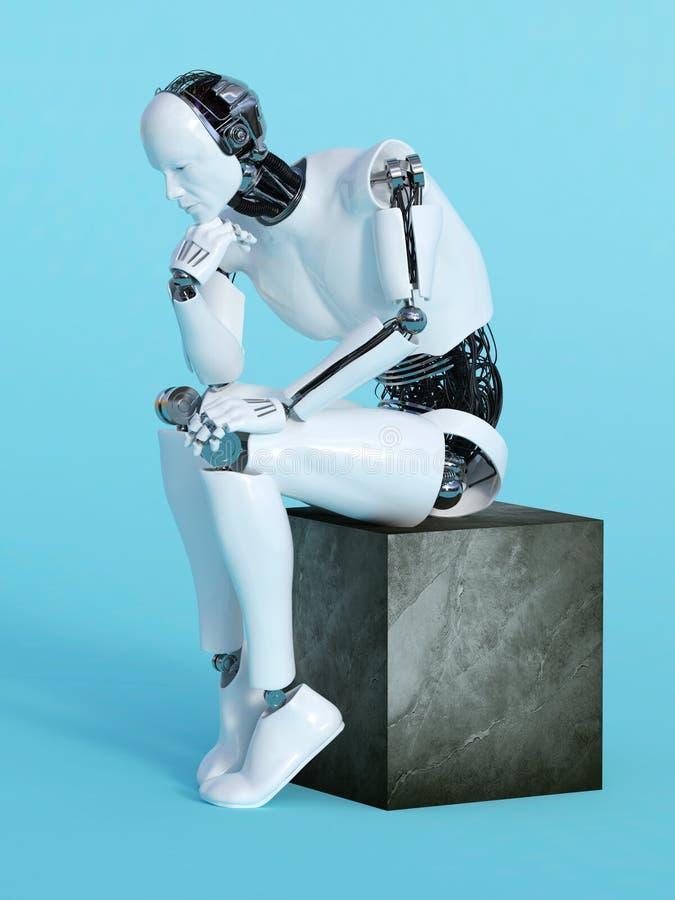 想法的姿势的机器人人 库存例证