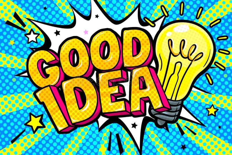 想法的概念 在流行艺术样式的消息好想法 库存例证