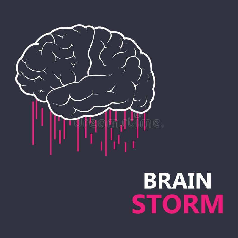 想法的过程的概念,激发灵感,好想法,记录脑部活动,洞察 平的线传染媒介象例证设计为 库存例证