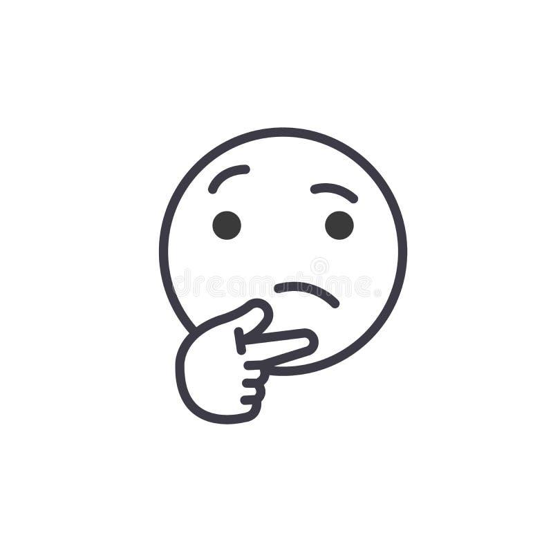 想法的Emoji概念线编辑可能的传染媒介,概念象 想法的Emoji概念线性情感例证 库存例证