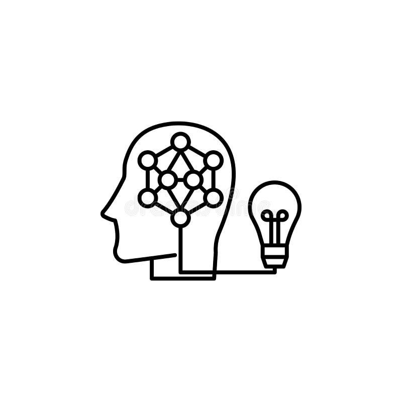 想法聪明的人脑象 人工智能象的元素流动概念和网apps的 稀薄的线想法聪明的人b 向量例证