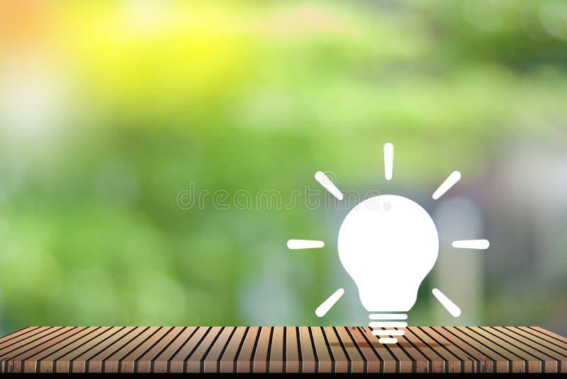想法自然绿色背景-全球性变暖减少的概念 免版税库存照片