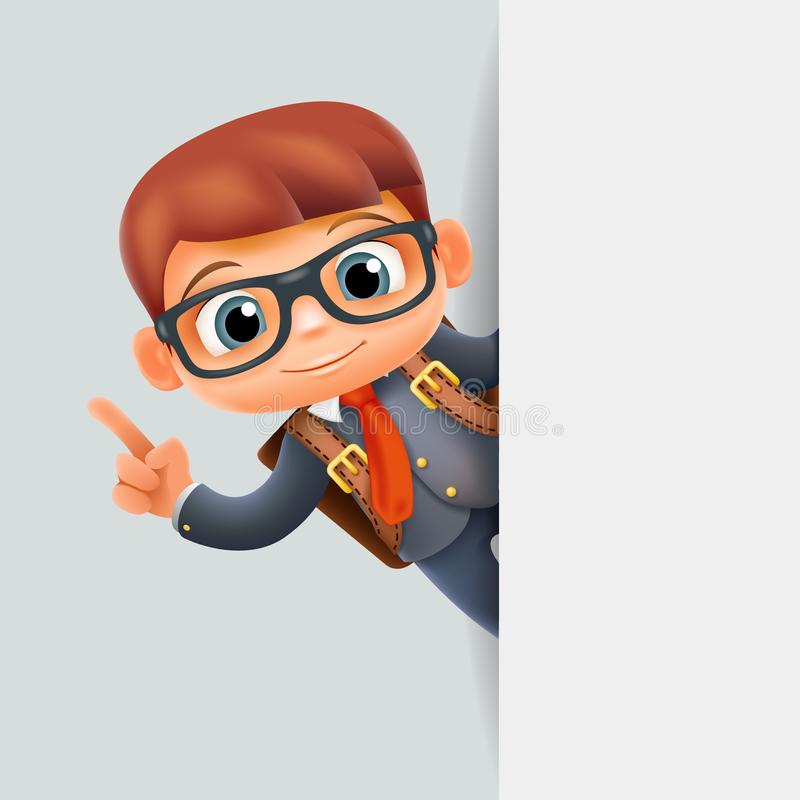 想法解答手势角落神色促进男小学生教育优秀学生学校学生角落3d动画片 皇族释放例证