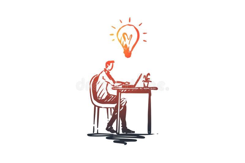 想法,工作,事务,膝上型计算机,创造性概念 手拉的被隔绝的传染媒介 皇族释放例证