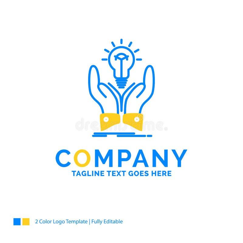 想法,想法,创造性,份额,手蓝色黄色企业商标te 库存例证