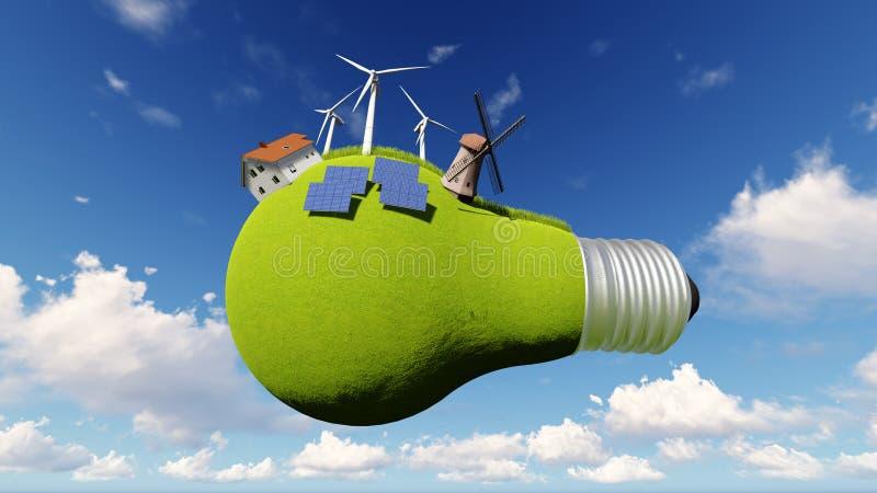 想法,电灯泡 可选择能源 免版税库存图片