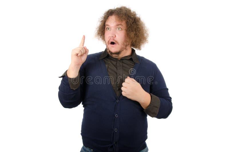 想法 人认为 有一个被举的手指的滑稽的人 免版税库存图片