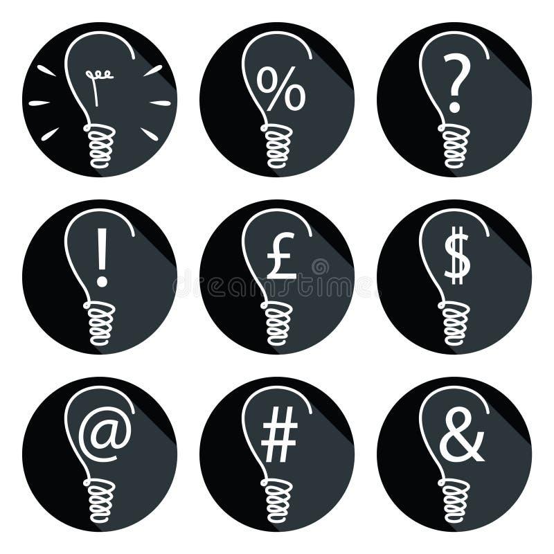 想法-电灯泡被设置象 库存例证
