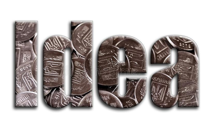 想法 题字有摄影的纹理,描述很多乌克兰硬币 向量例证