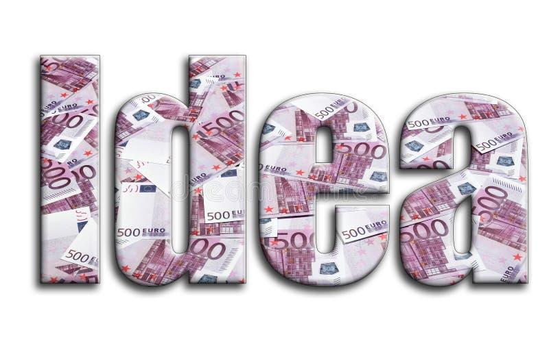想法 题字有摄影的纹理,描述很多500个欧元金融法案 向量例证