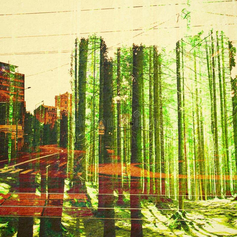 幻想生态摘要背景 与自然混合的都市风景在纸纹理 向量例证