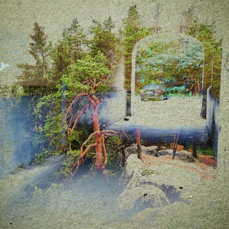幻想生态摘要背景 与自然混合的都市风景在纸纹理 皇族释放例证