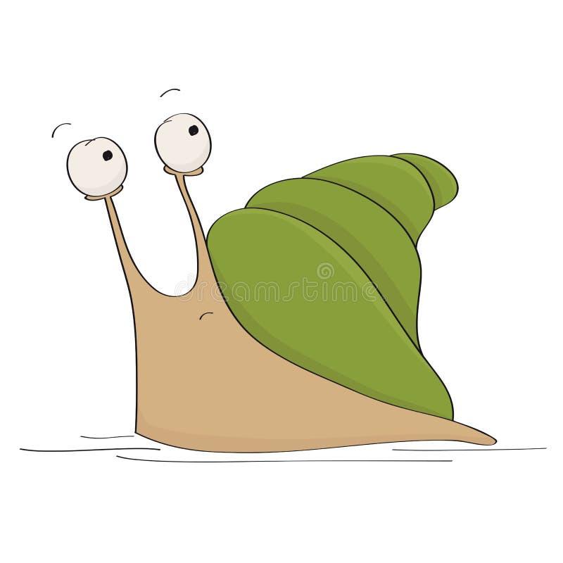 想知道是否的害怕或害怕的逗人喜爱的小的蜗牛的滑稽的例证跑,看一些危险behing他 库存例证