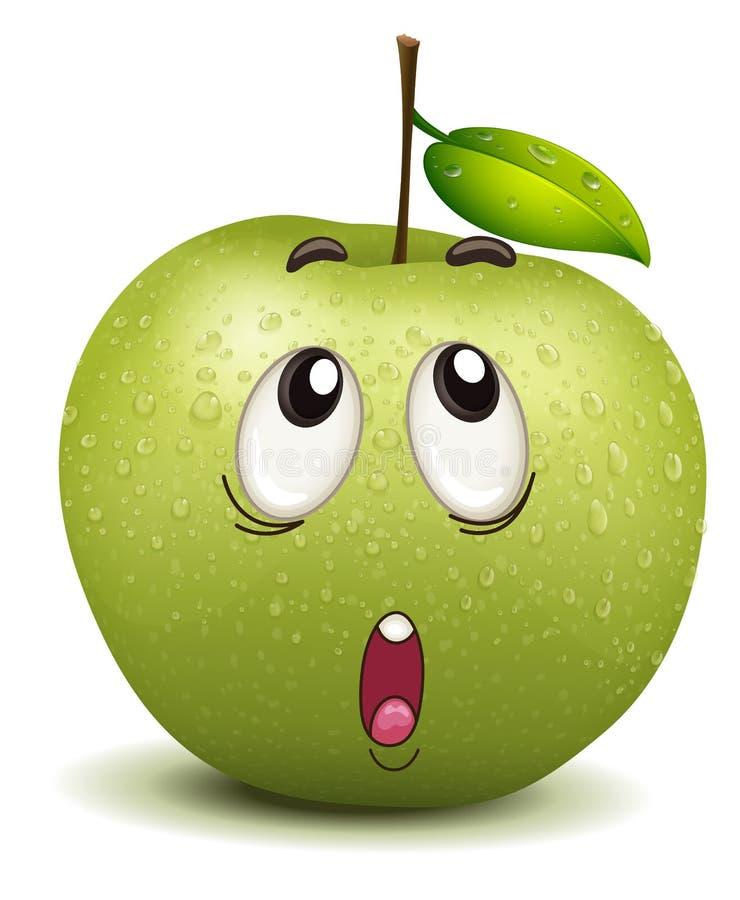 想知道的苹果面带笑容 向量例证