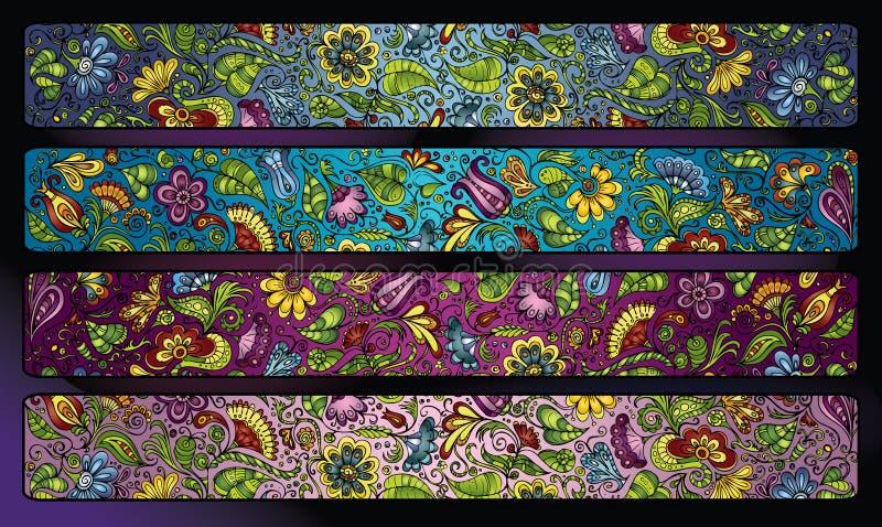 幻想装饰花卉条纹背景集合 皇族释放例证