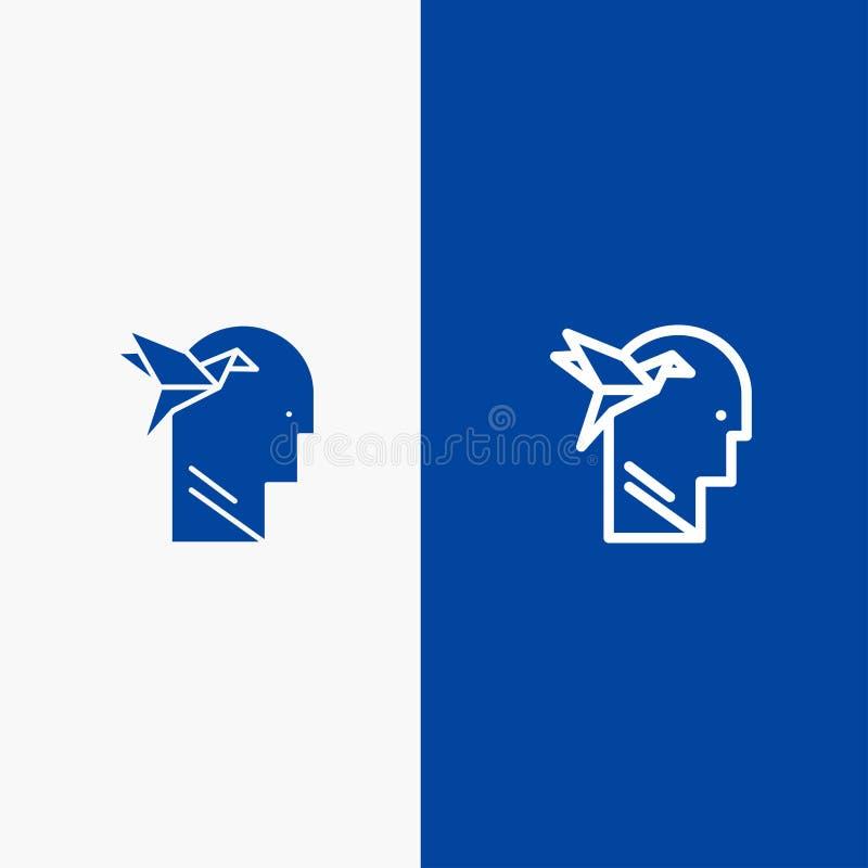 想象力形式、想象力、头、布赖恩线和纵的沟纹坚实象蓝色旗和纵的沟纹坚实象蓝色横幅 库存例证