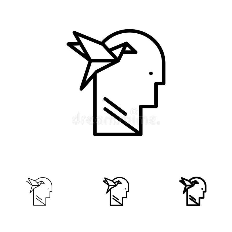 想象力形式、想象力、头,布赖恩大胆和稀薄的黑线象集合 皇族释放例证