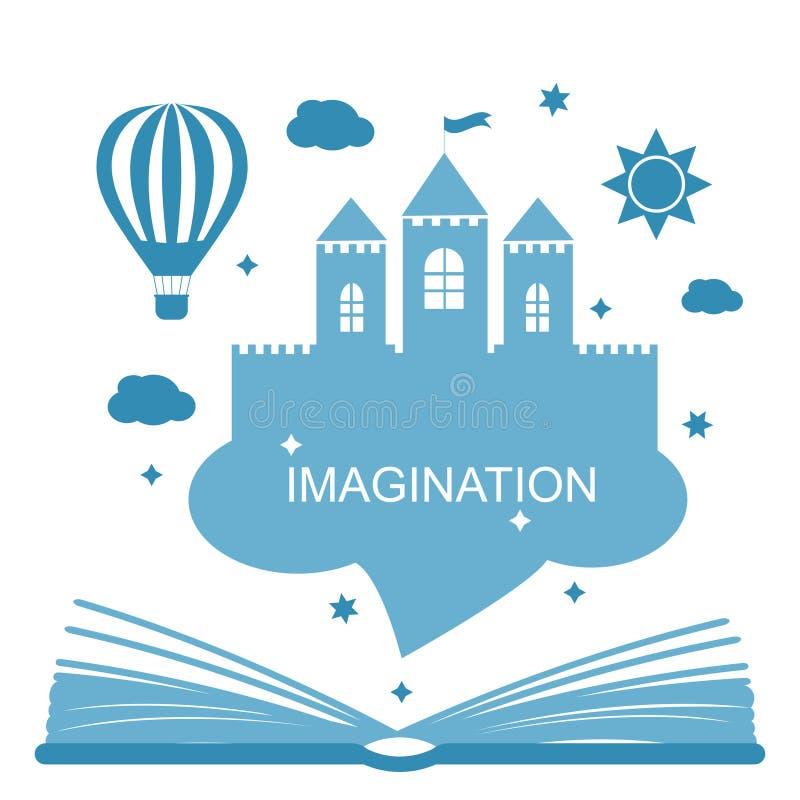 想象力概念-开放书 皇族释放例证