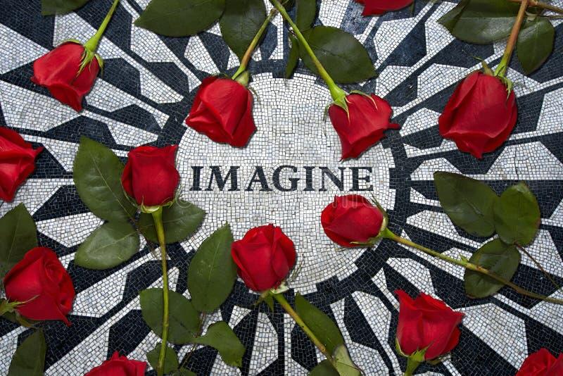 想象进贡给约翰・列侬在纽约 图库摄影