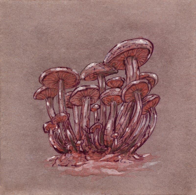 幻想采蘑菇群 向量例证