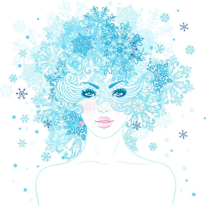 幻想雪女王/王后:有雪花的年轻美丽的女孩在她 向量例证