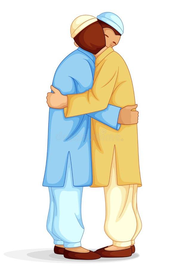 想Eid穆巴拉克的人们 皇族释放例证