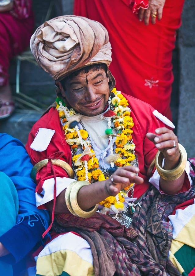 愈疗者jankri尼泊尔僧人 免版税图库摄影