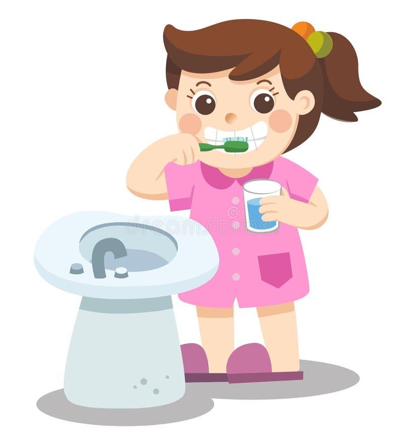 愉快一个的小女孩刷牙早晨 皇族释放例证