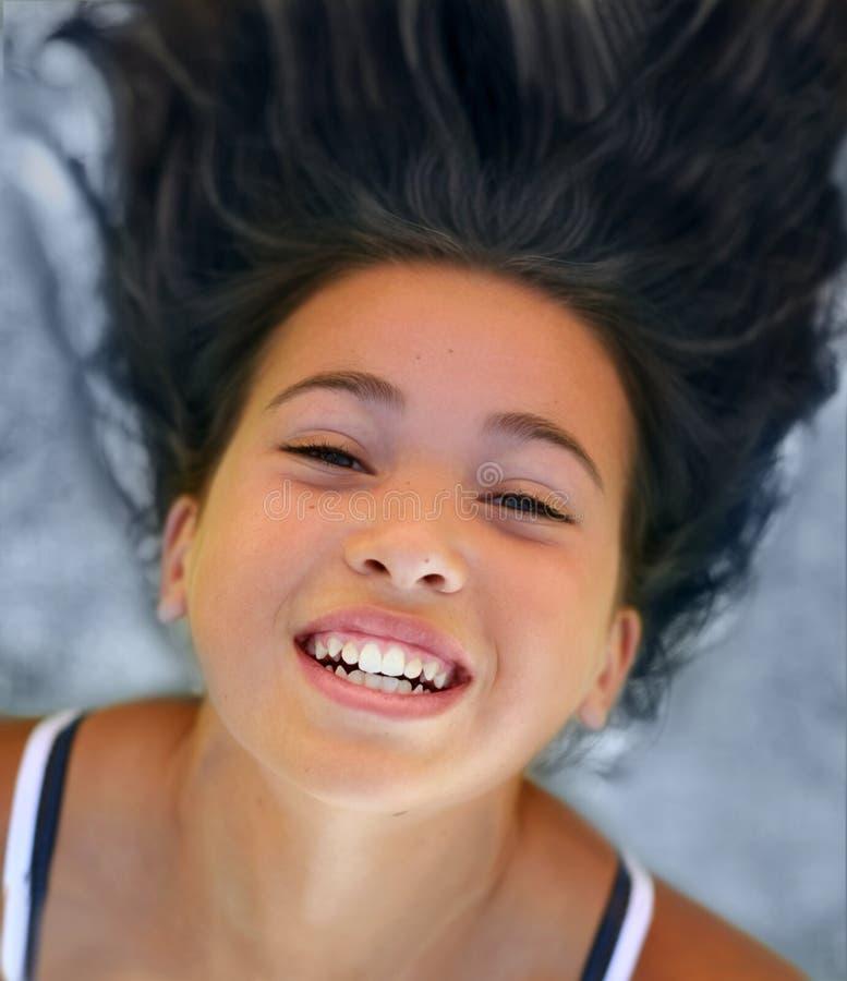 愉快亚裔的女孩 免版税库存图片