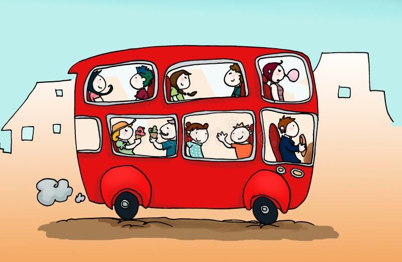 愉快公共汽车的城市 库存例证