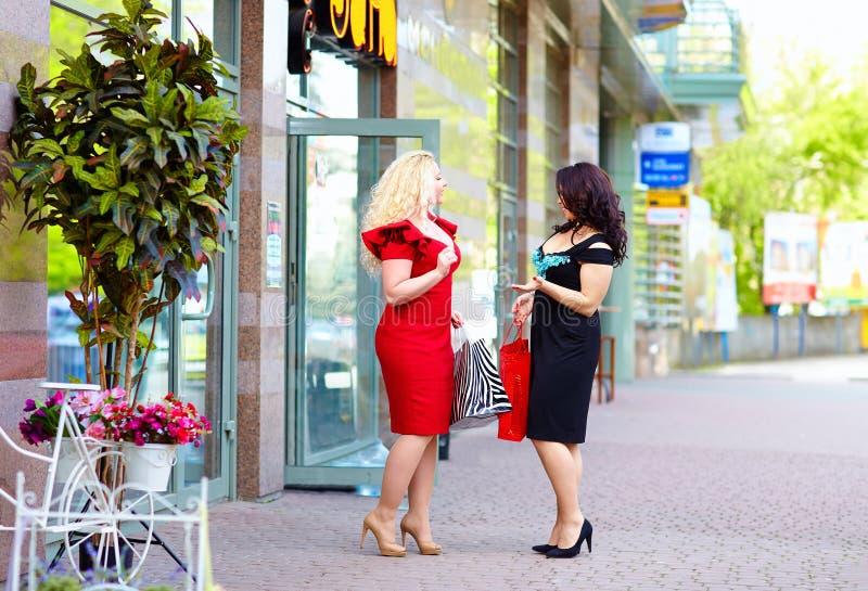 愉快加上购物大小的妇女,谈话在街道上 免版税库存图片