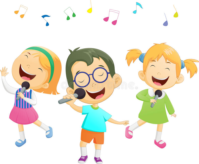 愉快动画片男孩和女孩唱歌 向量例证