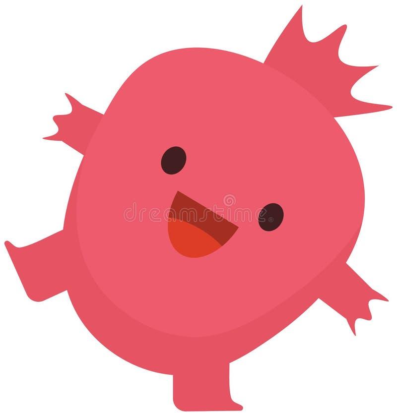 愉快印刷品动画片乱画夏天彩色组柑桔平的石榴石的妖怪 库存例证
