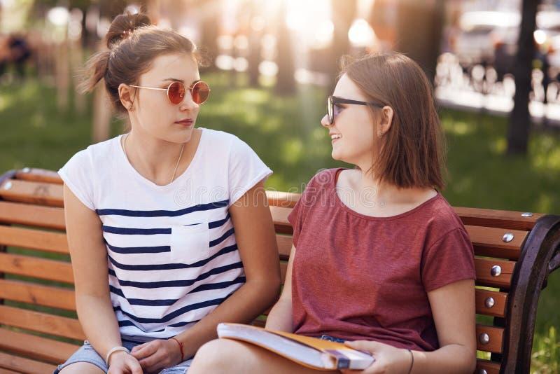 愉快友好的女性的groupmates见面,看ech其他,当有宜人的谈话时,穿戴在偶然T恤杉,坐长凳,二 库存照片