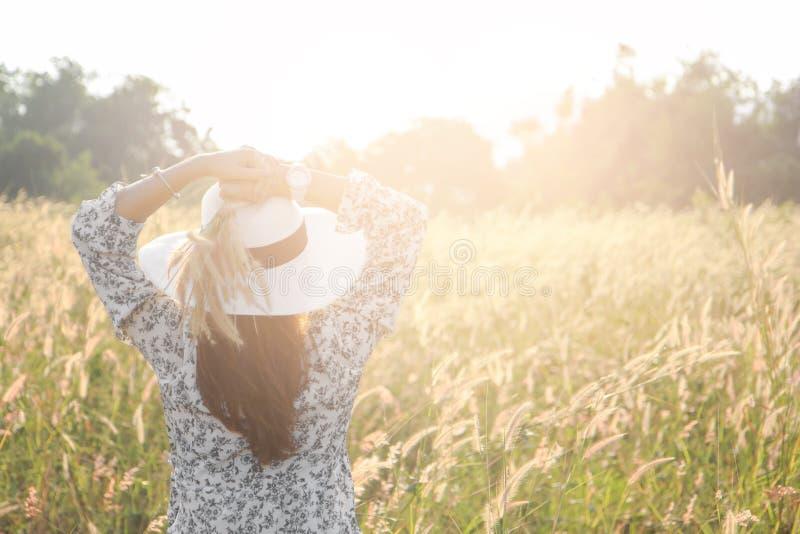 愉快和享用的少妇画象一个草甸的sunn的 免版税库存图片