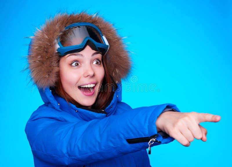 愉快和惊奇滑雪者 库存图片