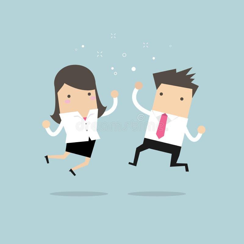 愉快商人和女实业家跳跃 到达天空的企业概念金黄回归键所有权 库存例证