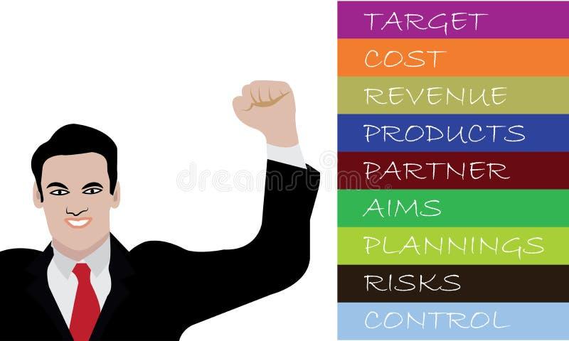 愉快商人微笑和成功的商人的被上升的手企业概念 向量例证