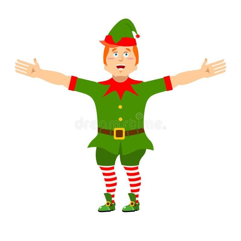 愉快圣诞节的矮子 快活的圣诞老人帮手 快活的微小的人 库存例证