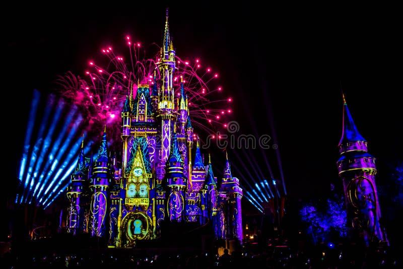 愉快地从此以后是壮观的烟花显示在黑暗的夜背景的灰姑娘的城堡在不可思议的王国1 库存图片