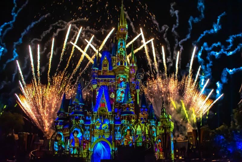 愉快地从此以后是壮观的烟花显示在黑暗的夜背景的灰姑娘的城堡在不可思议的王国51 库存照片