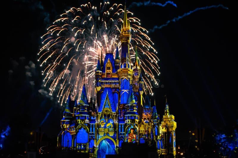 愉快地从此以后是壮观的烟花显示在黑暗的夜背景的灰姑娘的城堡在不可思议的王国48 免版税库存照片