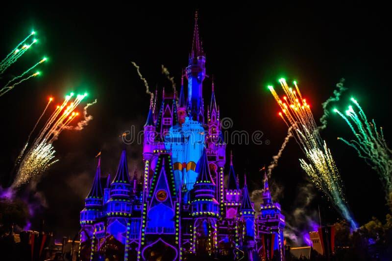 愉快地从此以后是壮观的烟花显示在黑暗的夜背景的灰姑娘的城堡在不可思议的王国26 免版税库存图片