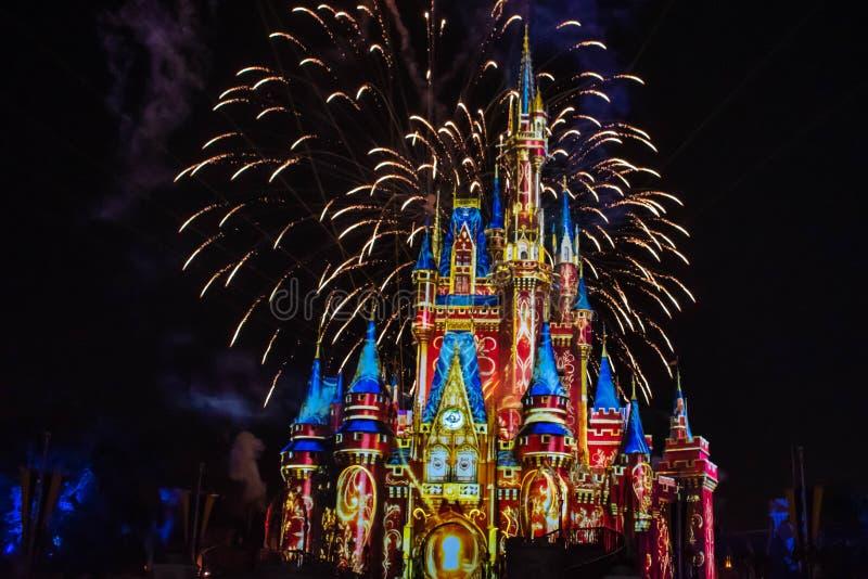 愉快地从此以后是壮观的烟花显示在黑暗的夜背景的灰姑娘的城堡在不可思议的王国13 免版税库存照片