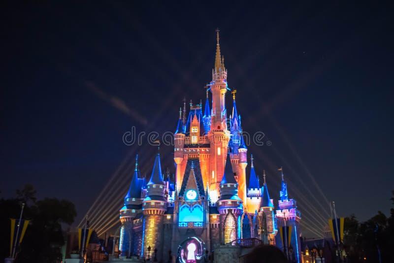 愉快地从此以后是壮观的烟花显示在黑暗的夜背景的灰姑娘的城堡在不可思议的王国7 图库摄影