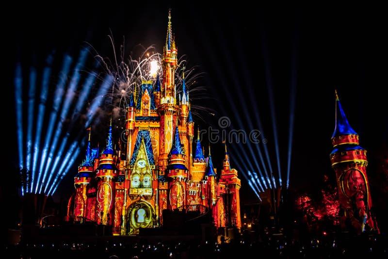 愉快地从此以后是壮观的烟花显示在黑暗的夜背景的灰姑娘的城堡在不可思议的王国5 免版税库存照片
